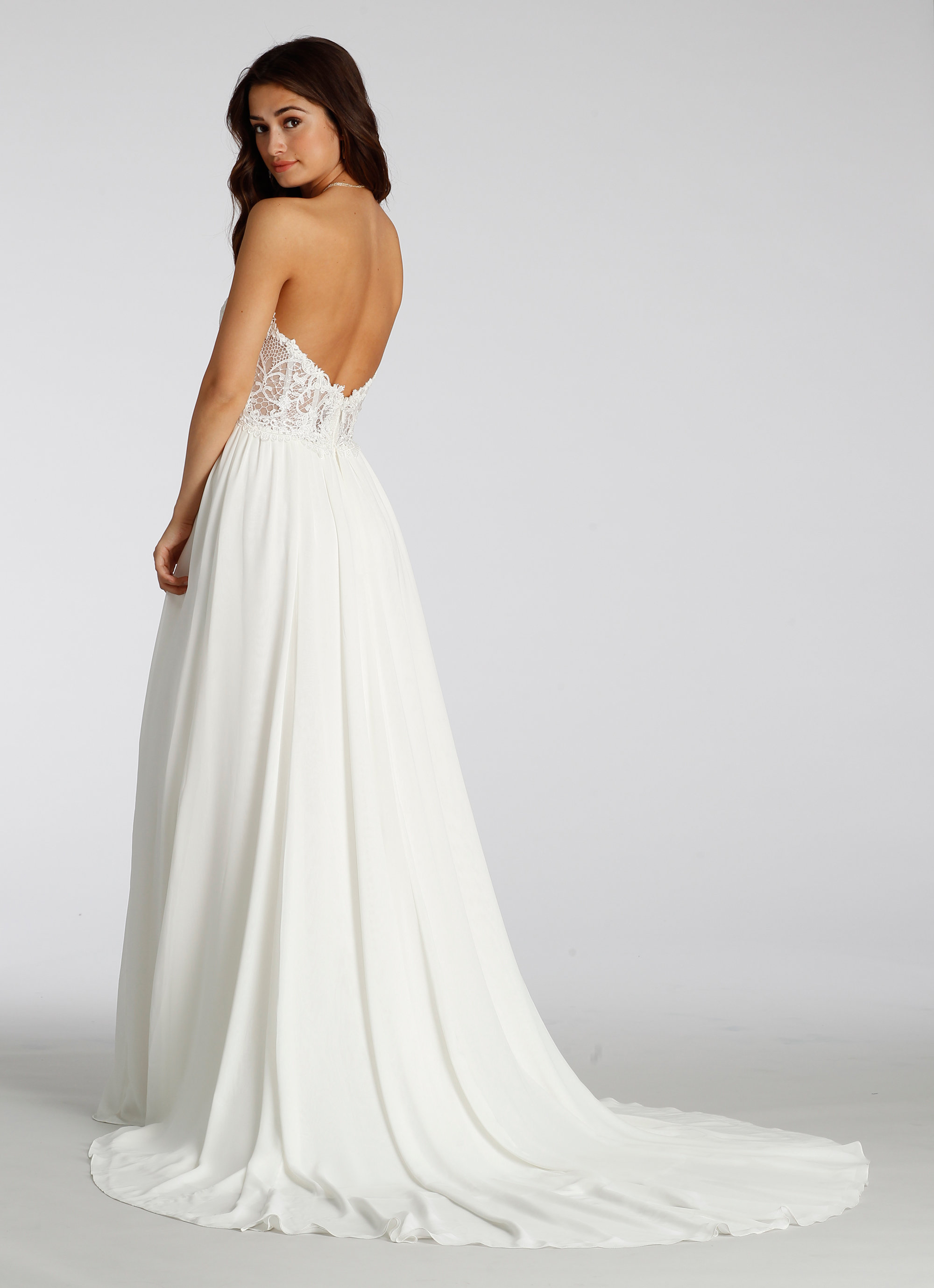 Wedding Dresses Jefferson St Dallas Tx : Ivory chiffon and lace a line bridal gown natural waist bodice