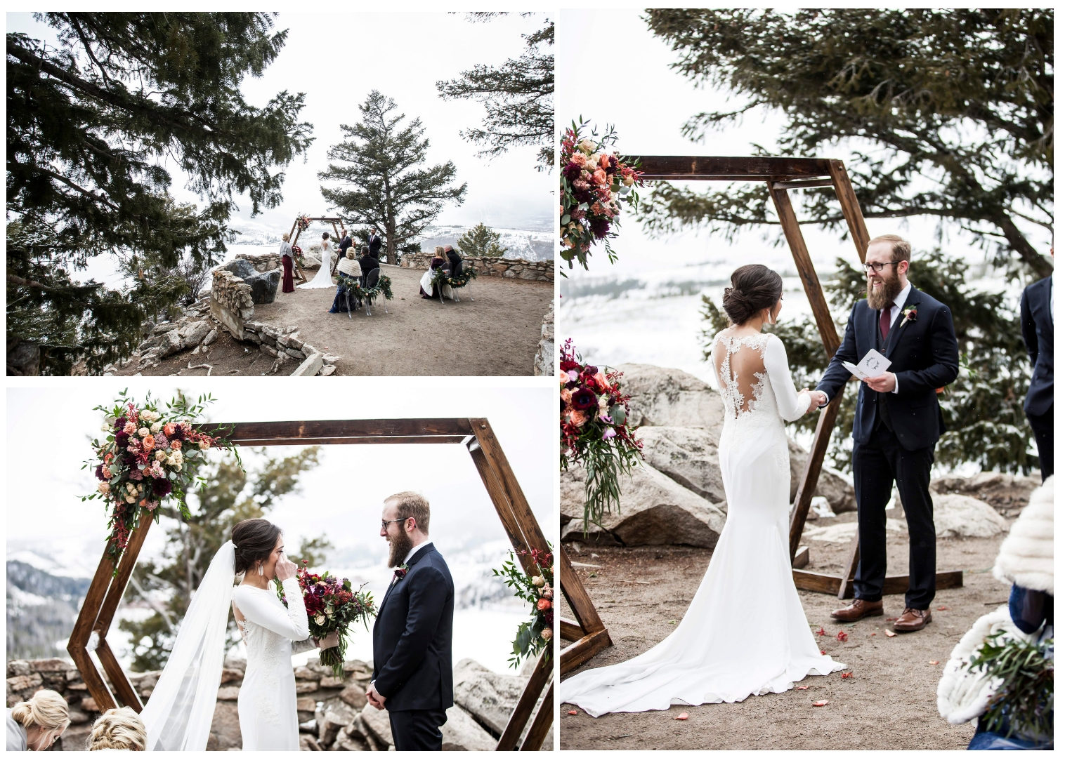 A 3 photo collage of their mountain top wedding ceremony