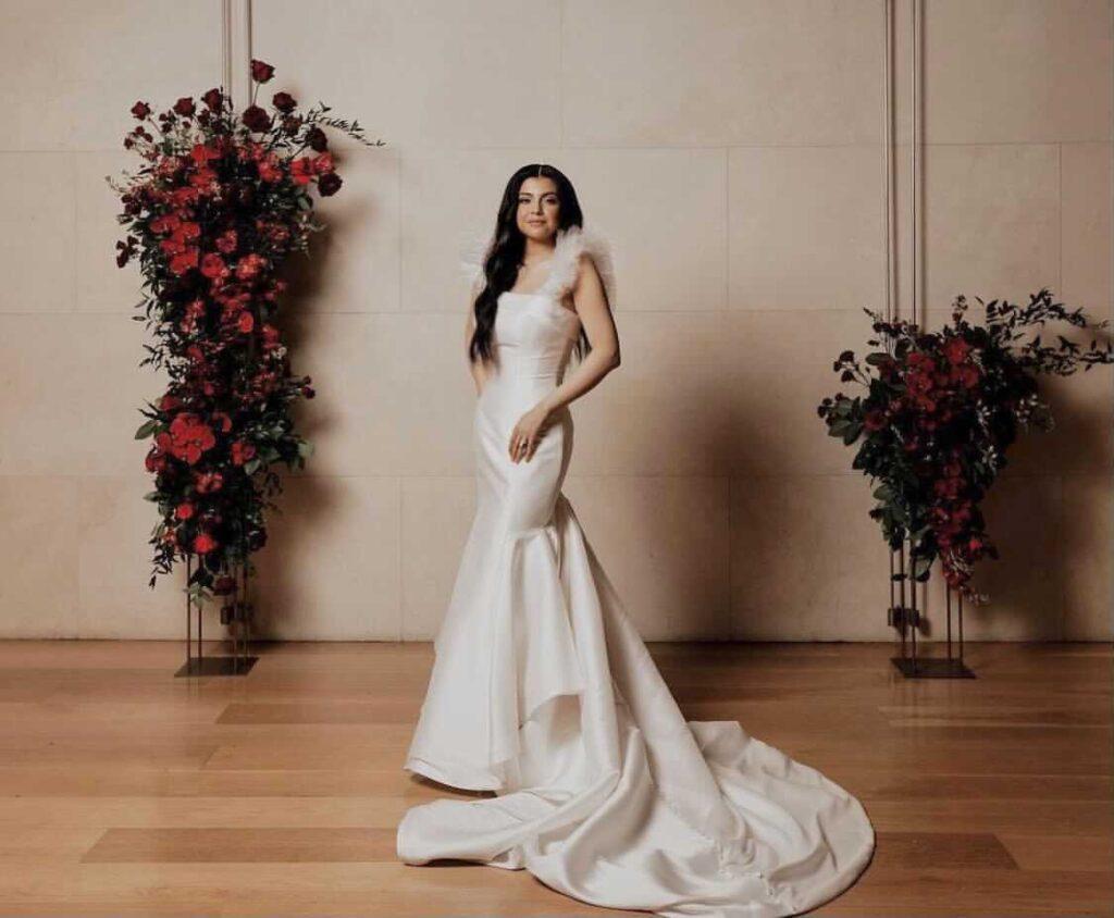 Real bride wearing Sophia Tolli